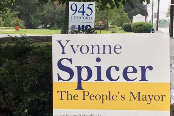 Photo of a Yvonne Spicer for Mayor sign outside her headquarters at 945 Concord Street Framingham